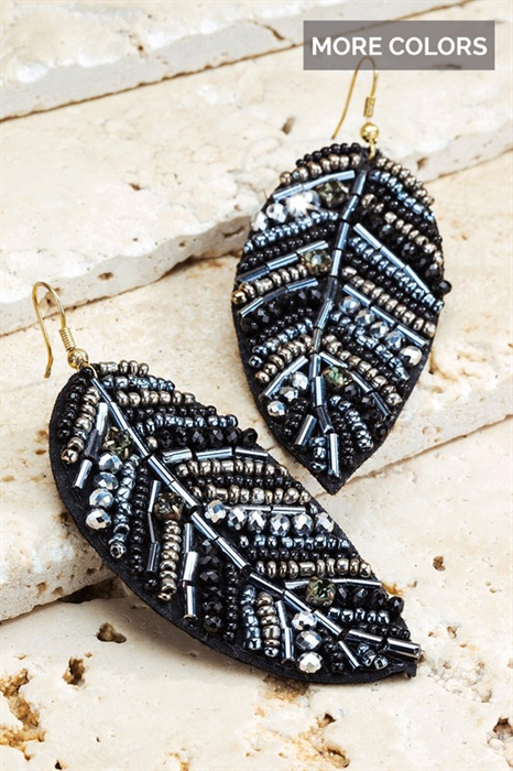 Picture of Mixed Bead Leaf Earrings